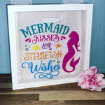 "Print4you uk limited Mermaid wishes and star fish kisses Money Box Frame 10"" 25cm x 25cm Birthday gift girls personalised"