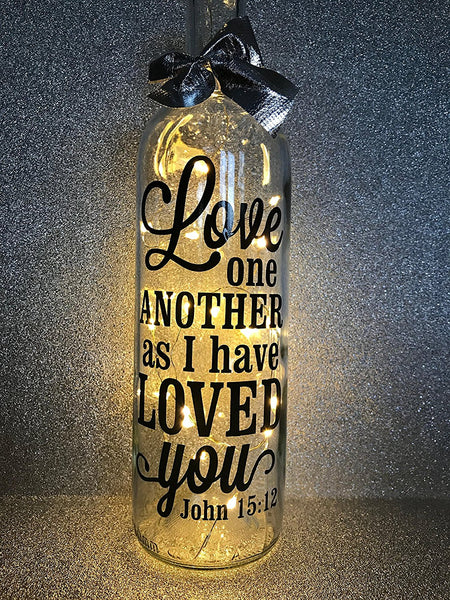 Love one another like I have loved you Religious Easter Baptism Holy Communion gift light up glass wine bottle complete with lights