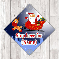 WS02 Santa Stop here personalised window Sign Sticker with suction cups