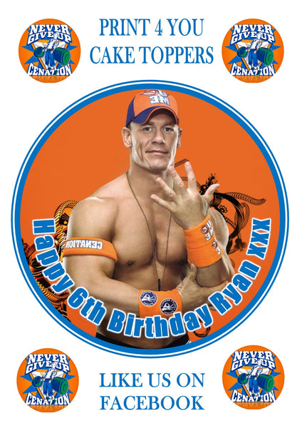 "John Cena WWE WWF Wrestler Birthday Personalised Round Cake Topper approx 7.5"" (or smaller on request) on Icing"