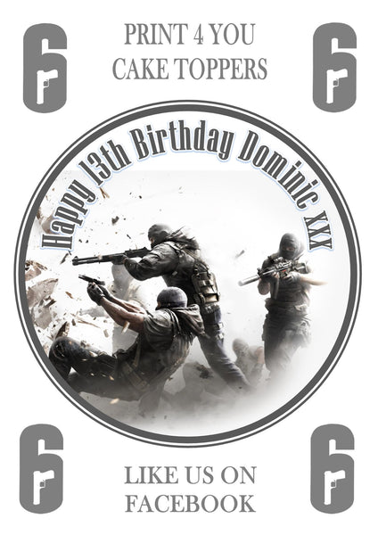 "Rainbow Six Seige Tom Clancey Birthday Personalised Round Cake Topper approx 7.5"" (or smaller on request) on Icing"