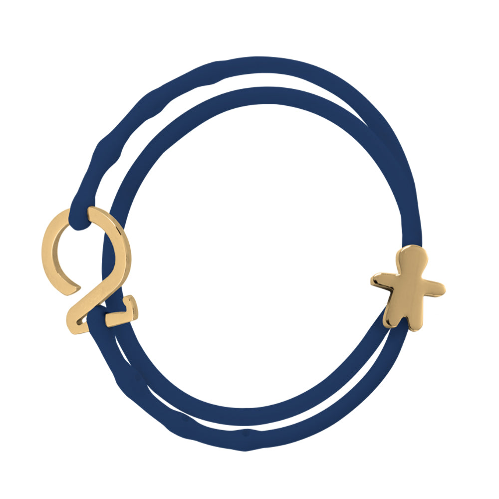 Gold_Charm bracelet denim-blue silicone adjustable straps & 1 gold hook & 1 gold charm school boy Brappz SKU#7640174312979 brappz.com