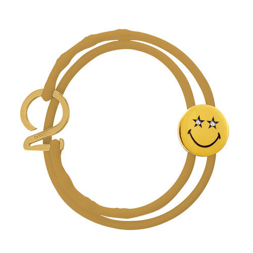 Gold_Smiley™ Crystal Star Eyes gold Charm bracelet with gold silicone adjustable strap & gold hook Brappz SKU#7640174312948 brappz.com