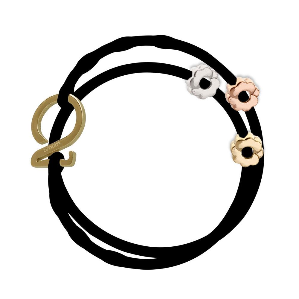 Charm bracelet set 1 black 1 peach orange silicone adjustable straps & 1 silver hook & 1 gold 1 silver 1 copper flower charms Brappz SKU# 7640174311996 brappz.com