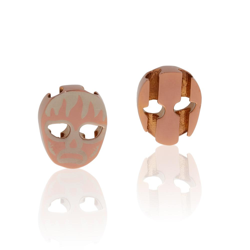 Charm rose gold stainless steel luchador mask Brappz SKU#7640174311262  brappz.com