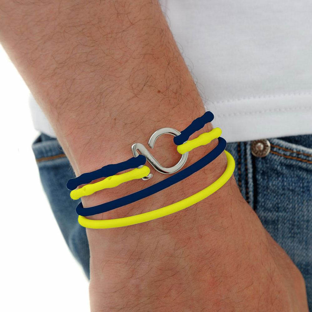 Dark Blue-Yellow-Silver_College bracelet dark blue yellow silicone adjustable straps & 1 silver hook Brappz SKU# 7640174311613 brappz.com