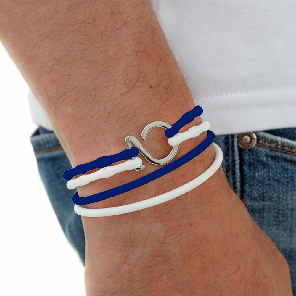 Dark Blue-White-Silver_College bracelet blue white silicone adjustable straps & 1 silver hook Brappz SKU# 7640174312016 brappz.com