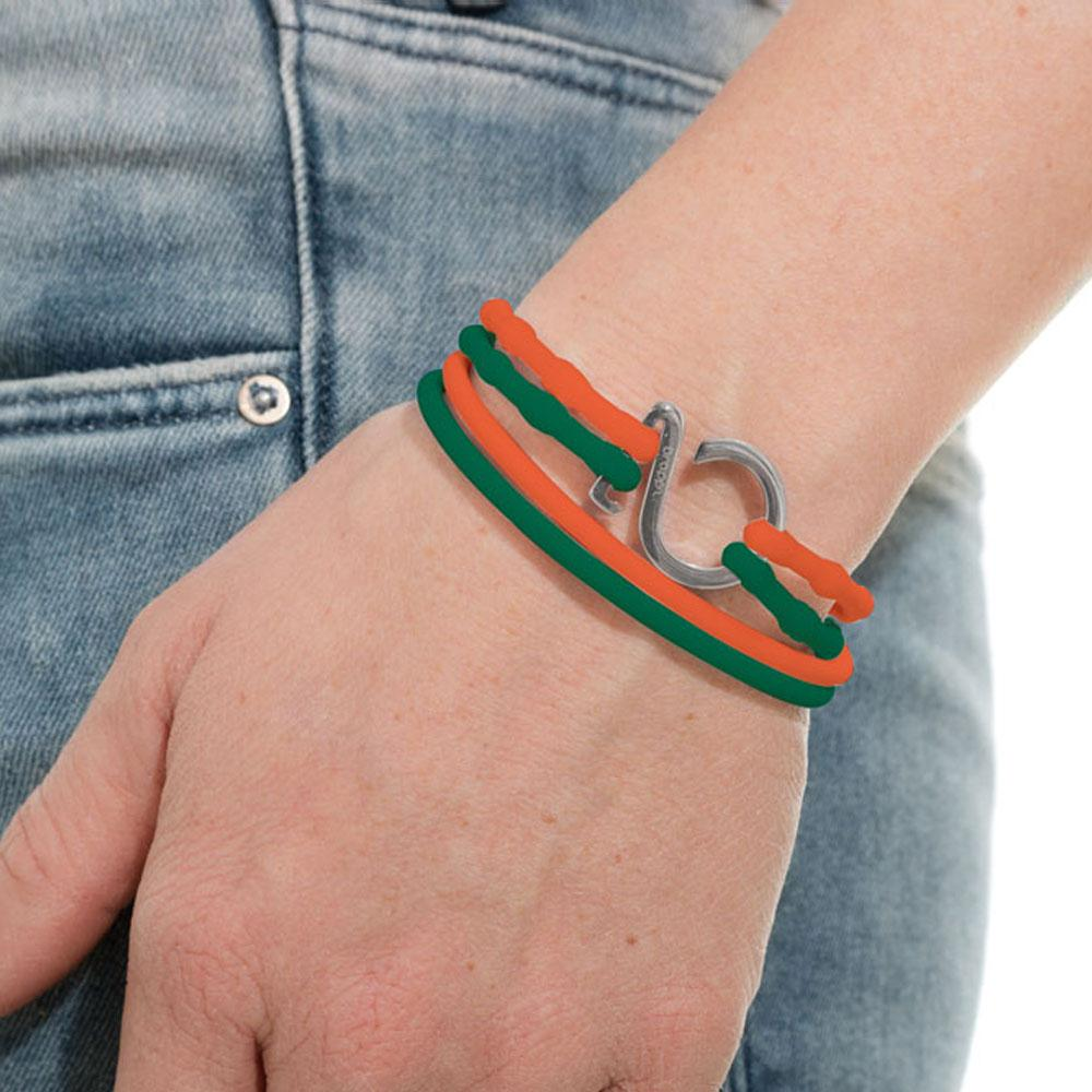 Green-Orange-Silver_College bracelet green orange silicone adjustable straps & 1 silver hook Brappz SKU# 7640174311620 brappz.com