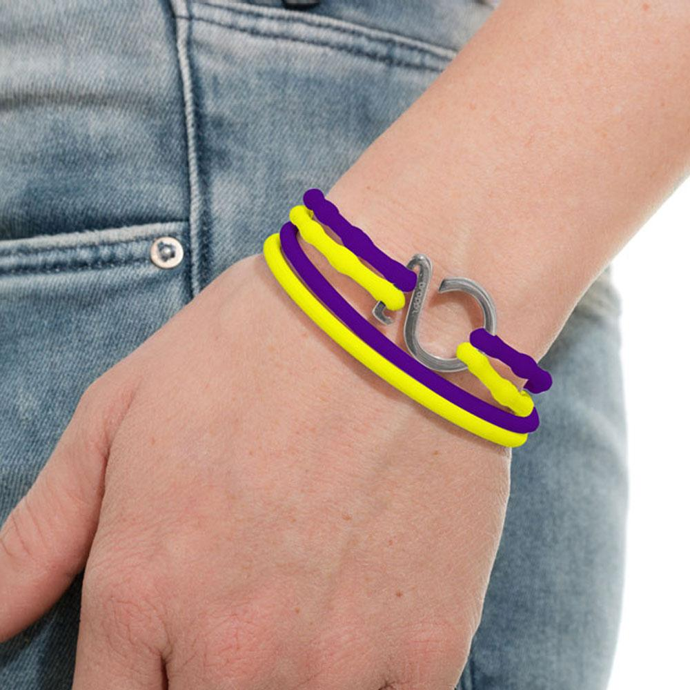 Purple-Yellow-Silver_College bracelet purple yellow silicone adjustable straps & 1 silver hook Brappz  SKU# 7640174311835 brappz.com