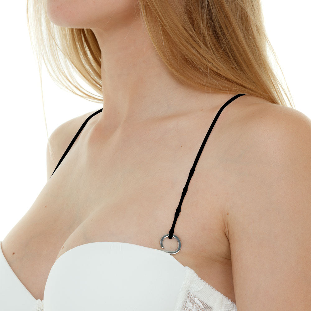 Fearless Black-Silver_Cross back bra straps set 2 black silicone adjustable straps & 4 silver hooks Brappz USA Canada SKU#7640174311590 brappz.co Brappz multi-purpose silicone jewelry USA