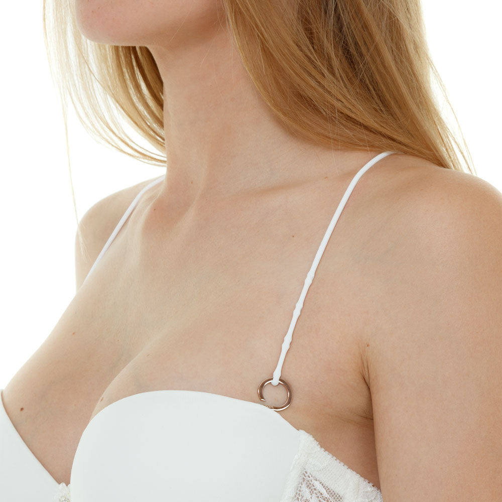Angelic White-Rose Gold_Cross back bra straps set 2 white silicone adjustable straps & 4 silver hooks Brappz USA Canada SKU#7640174311606 brappz.co Brappz multi-purpose silicone jewelry USA