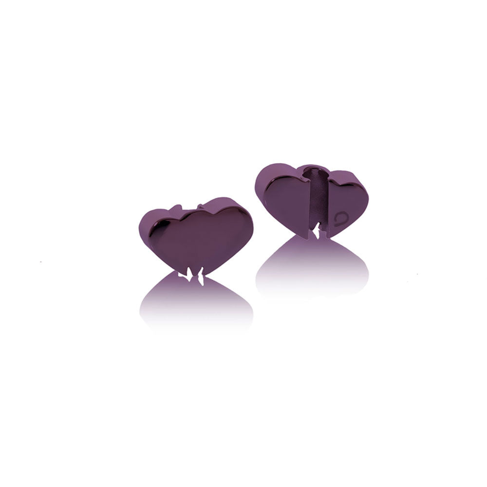Charm purple stainless steel Heart Brappz SKU#7640174313082 brappz.com