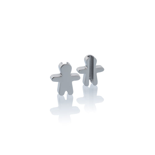 Charm school boy Jan & Oscar Effigy silver stainless steel Brappz SKU#7640174312894 brappz.com