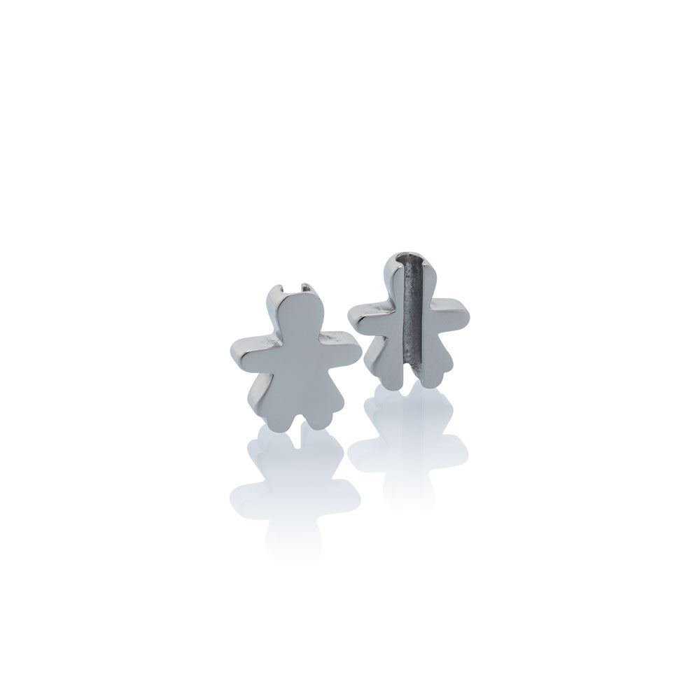 Charm school girl Jan & Oscar Effigy silver stainless steel Brappz SKU#7640174312863 brappz.com