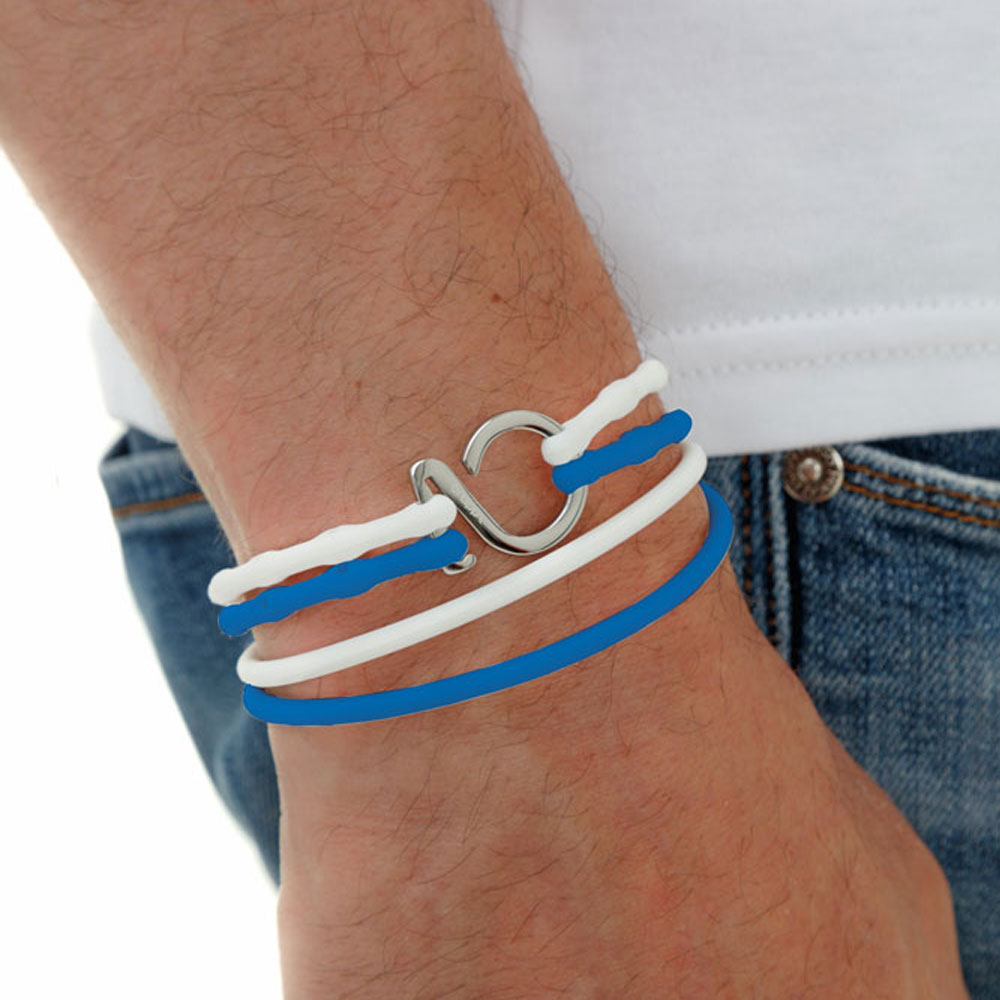 Electric_ Blue-White-Silver_College bracelet  blue white silicone adjustable straps & 1 silver hook Brappz SKU #7640174313259 brappz.com