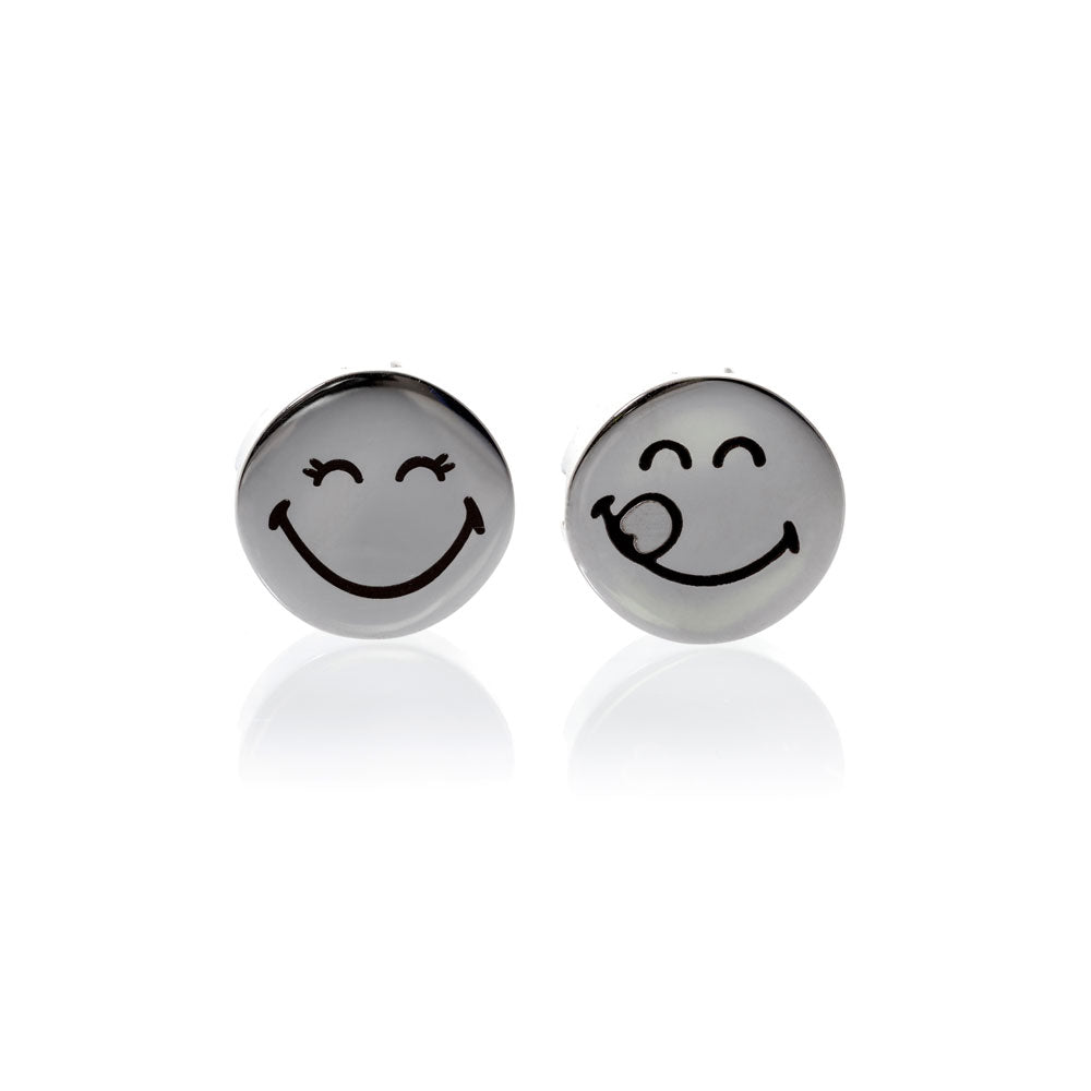 Smiley™ Charm set silver stainless steel 1 small lashes & rebel charms Brappz SKU#7640174313167 brappz.com