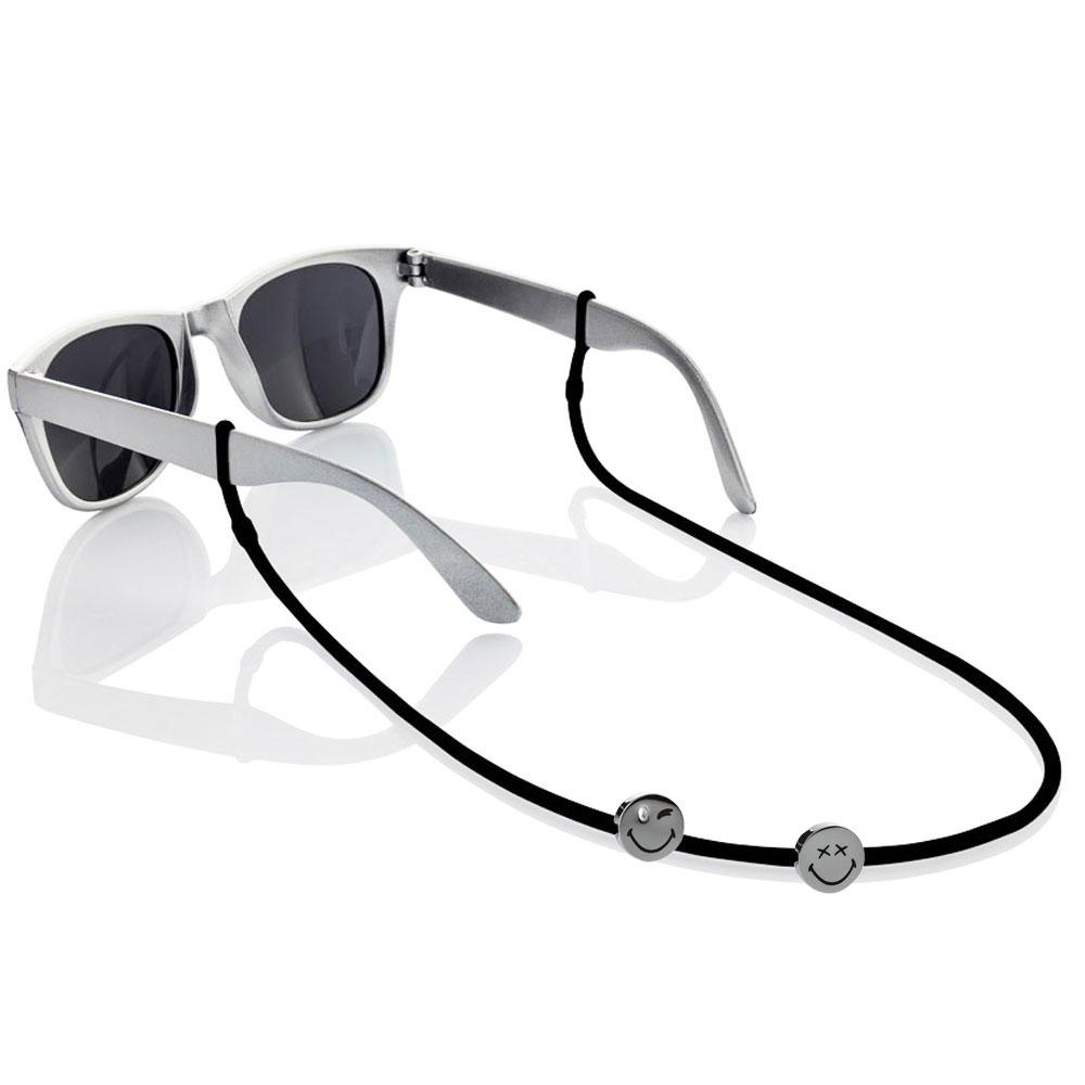 Smiley™ Eyewear Strap set 1 black 1 white 1 yellow silicone adjustable straps & 1 small silver wink & 1 xx eyes smiley charms Brappz SKU#7640174311668 brappz.com