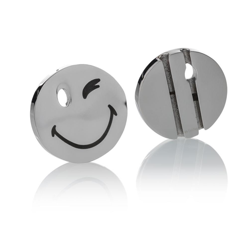 Smiley™ Charm silver stainless steel large wink eye Brappz SKU#7640174312375 brappz.com