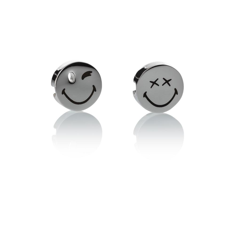 Smiley™ Charm set silver stainless steel 1 small wink & 1 xx eyes smile charms Brappz USA Canada SKU# 7640174312368 brappz.com