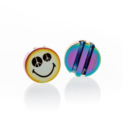 Smiley™ Charm Iridescent stainless steel Peace & Love smile Brappz SKU#7640174312832 brappz.com