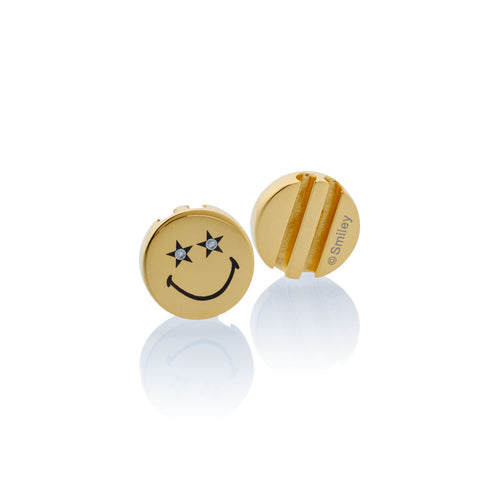 Gold_Smiley™ Charm gold stainless steel Crystal Star Eyes Brappz SKU#7640174312818 brappz.com