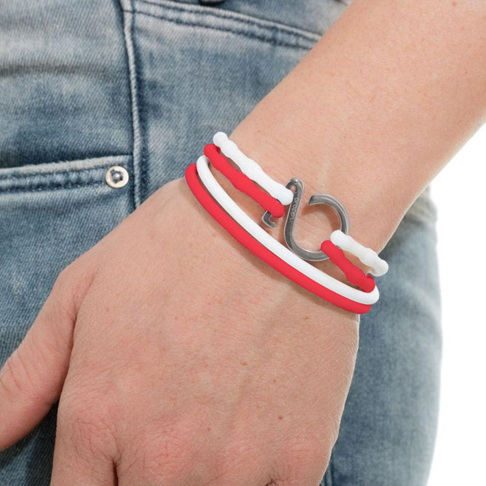 White-Red-Silver_College bracelet white red silicone adjustable straps & 1 silver hook Brappz SKU# 7640174312016 brappz.com