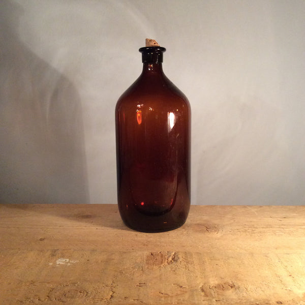 Vintage Glass Rounded Amber Bottle with Cork