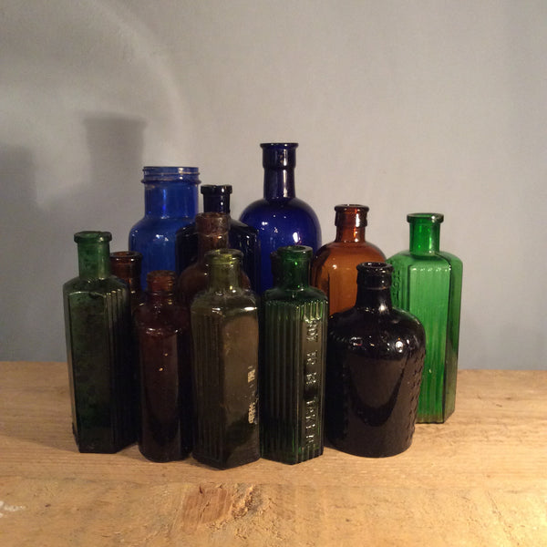 Vintage Large Coloured Glass Bottles