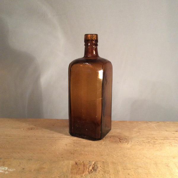 Vintage Large Square Brown Glass Bottle