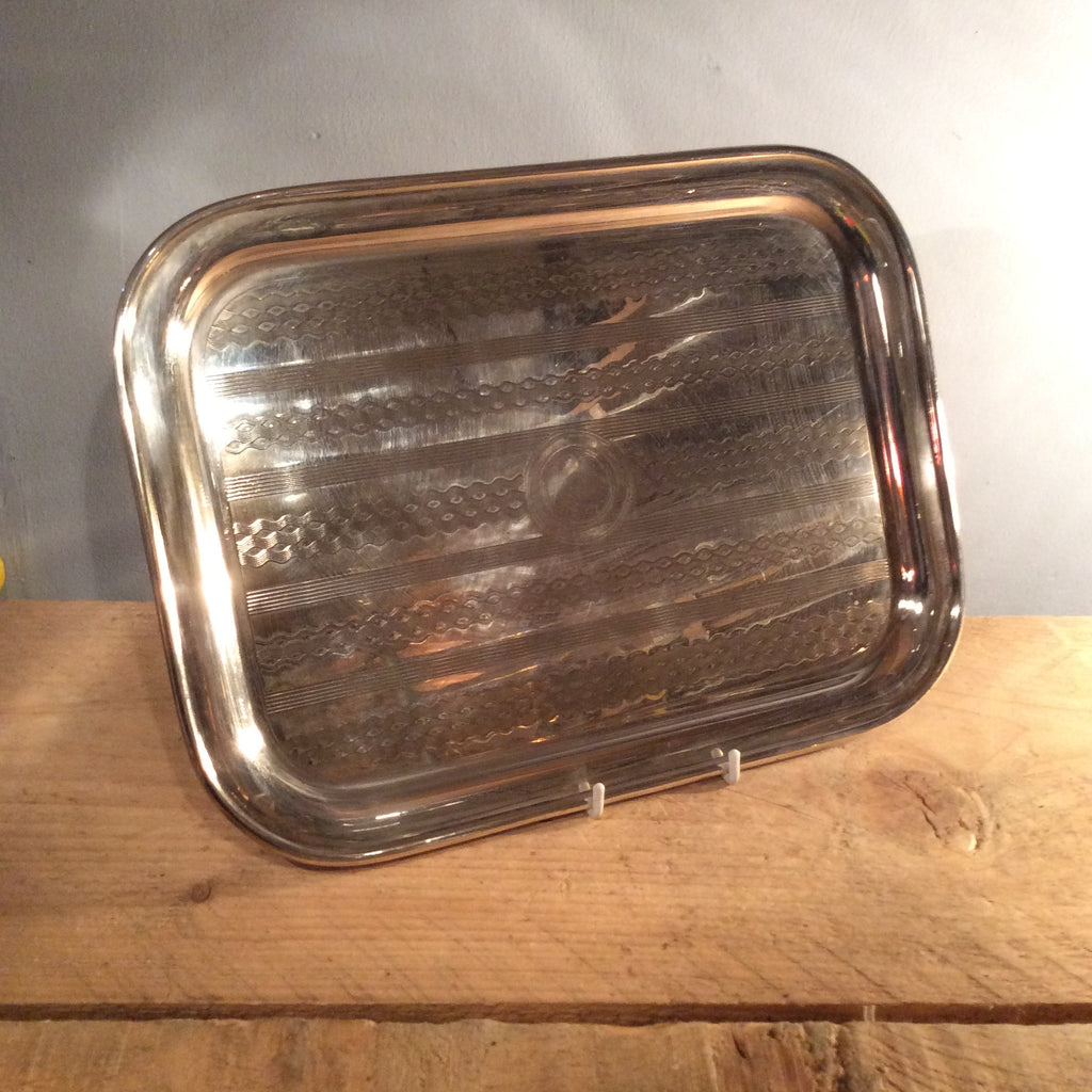 Vintage Nickel Rectangular Tray - Small