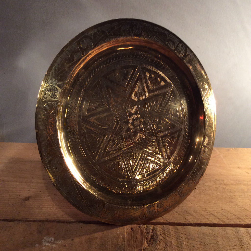 Vintage Brass Circular Tray - Small