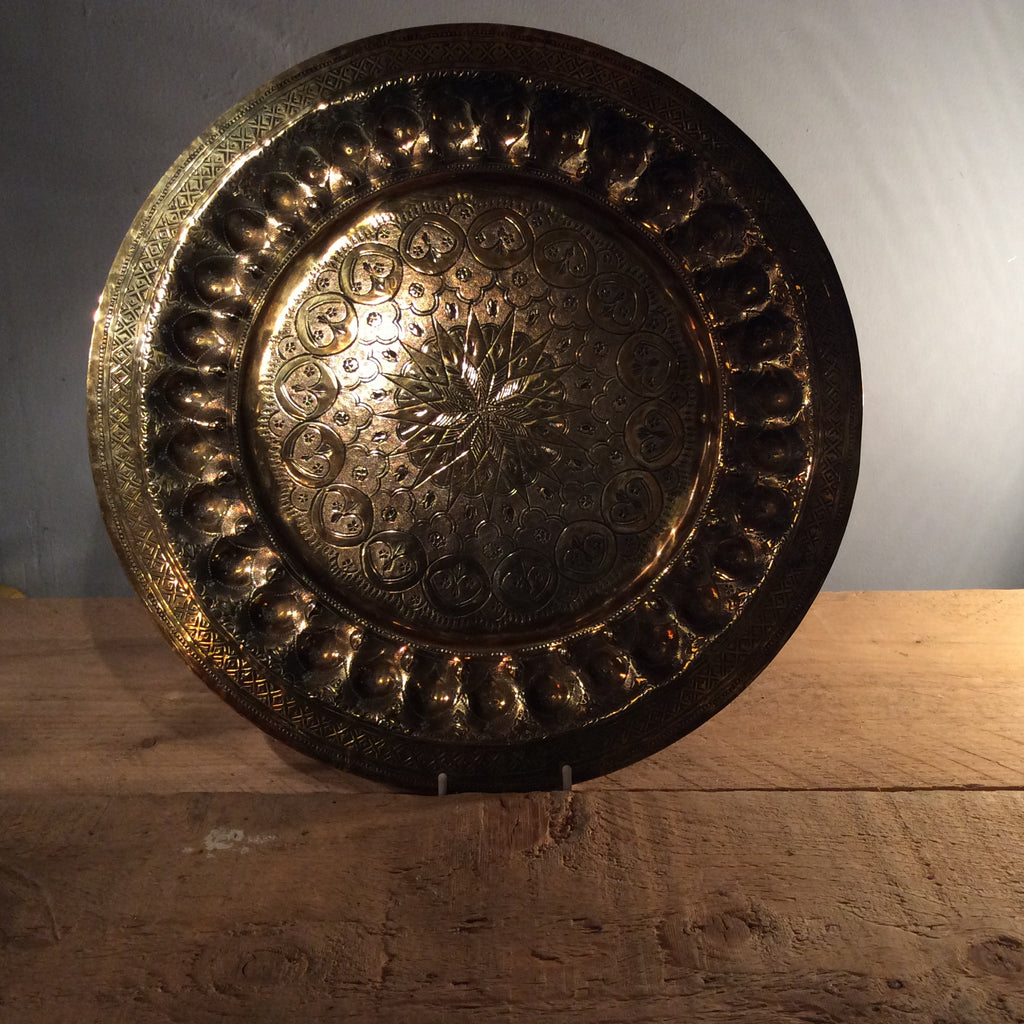 Vintage Brass Circular Tray - Large