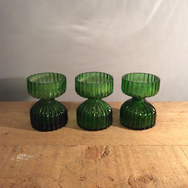 Vintage Ribbed Green Candle Holder