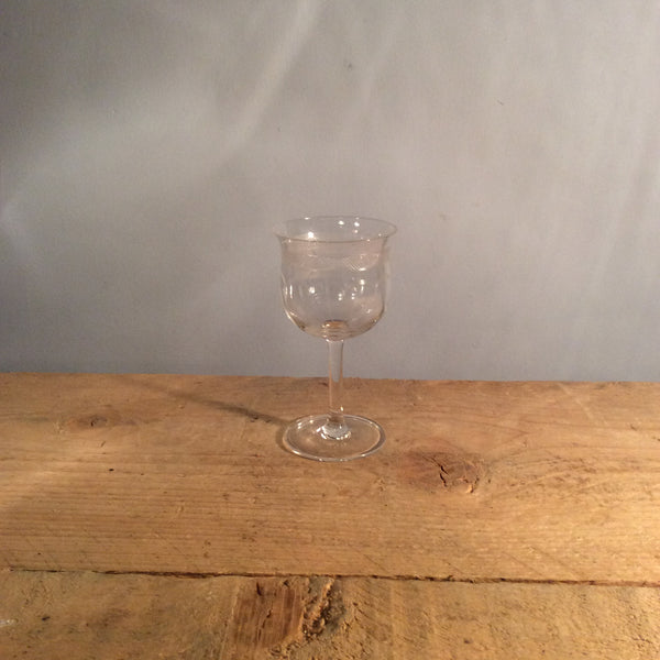 Vintage Individual Etched Champagne Glass