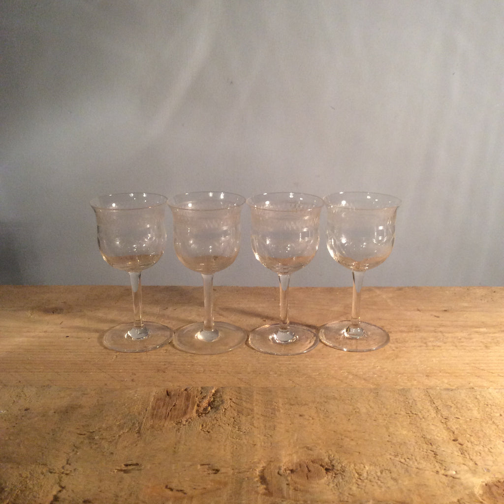 Vintage Small Etched Champagne Glass