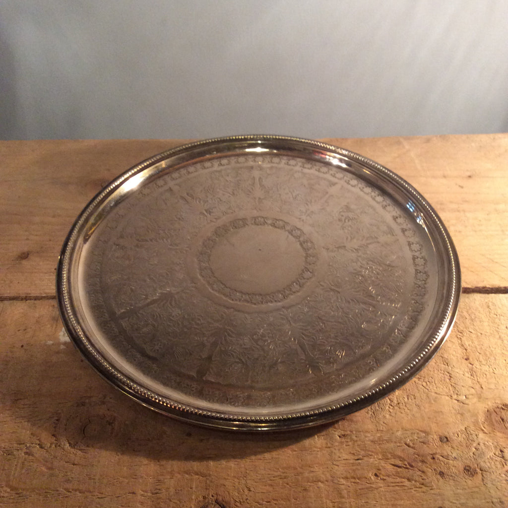 Vintage Silver Circular Decorated Tray