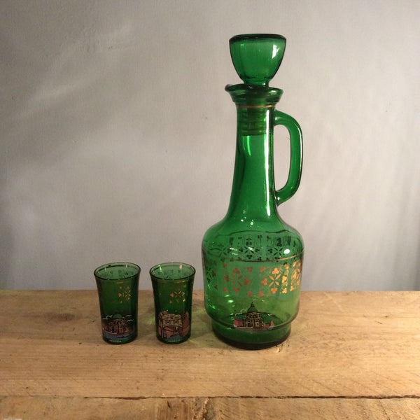 Vintage Green Glass Decanter With Two Shot Glasses