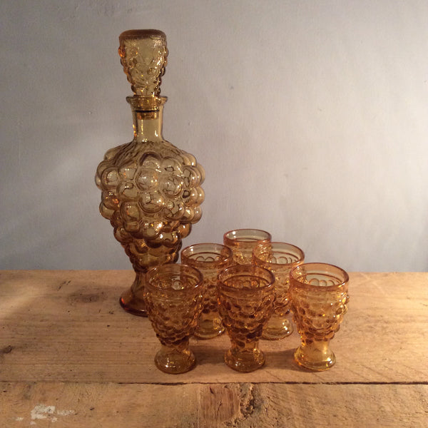 Vintage Amber Glass Decanter and Shot Set