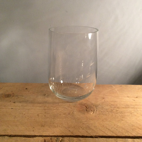 Vintage Clear Etched Glass Vase