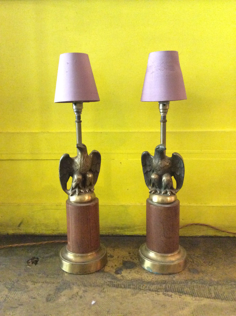 Vintage Pair Of Eagle Lamp Stands
