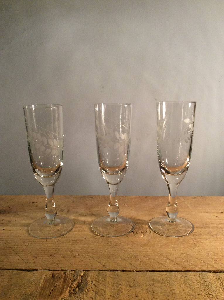Vintage Set of 3 etched champagne flute