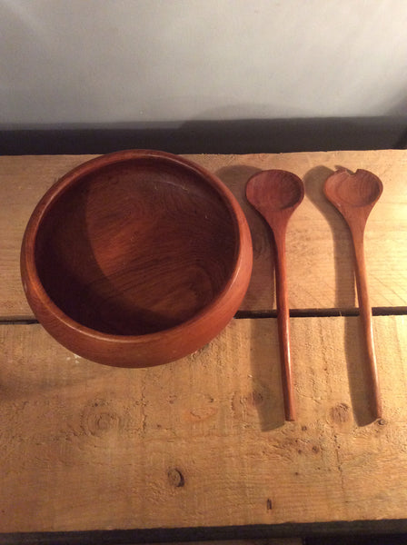 Vintage Wooden Salad Bowl with 2 Spoon