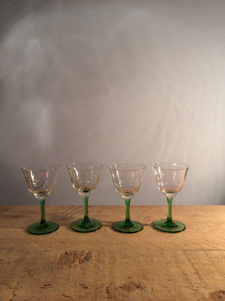 Vintage Individual Small Etched Green Glass