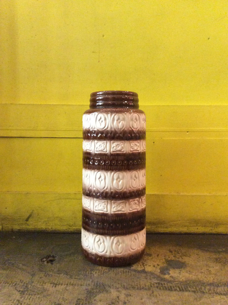 Vintage White and Brown Ceramic Germany Vase