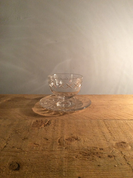 Vintage Cut Crystal Dessert Bowl - Large