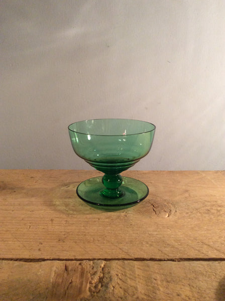 Vintage Dark Green Ice Cream Bowl