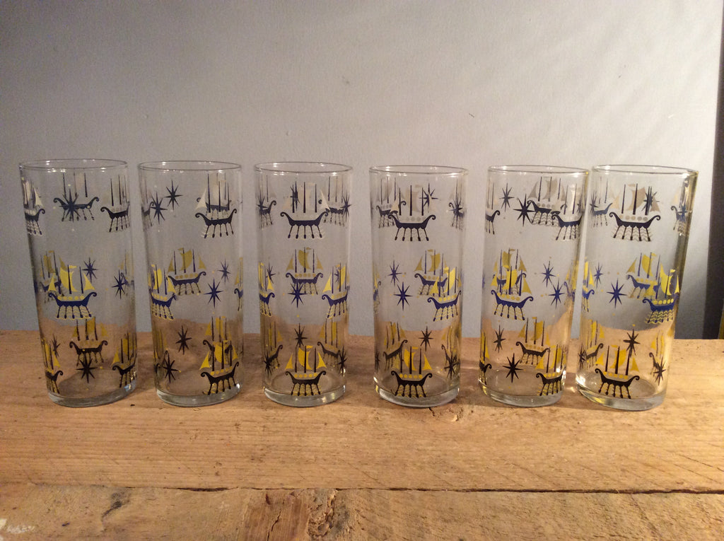 Vintage Set of 6 Glasses Boat