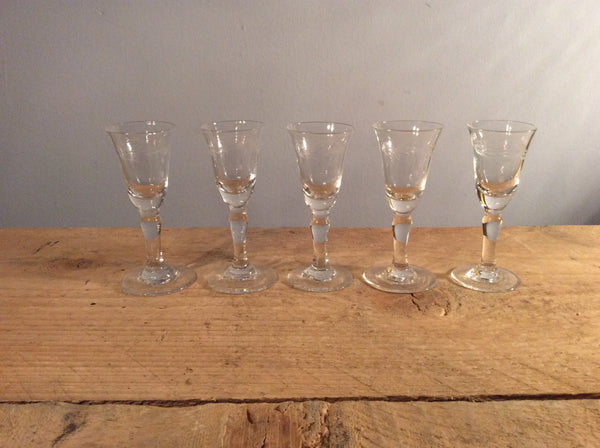 Vintage Set of 5 Shot etched