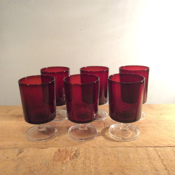 Vintage Set of Six Red Glasses