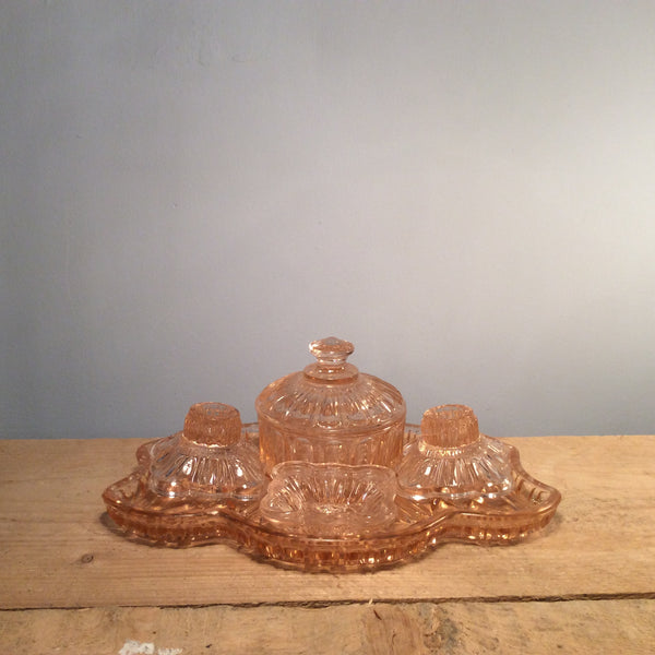 Vintage Rose Glass Dressing Table Set